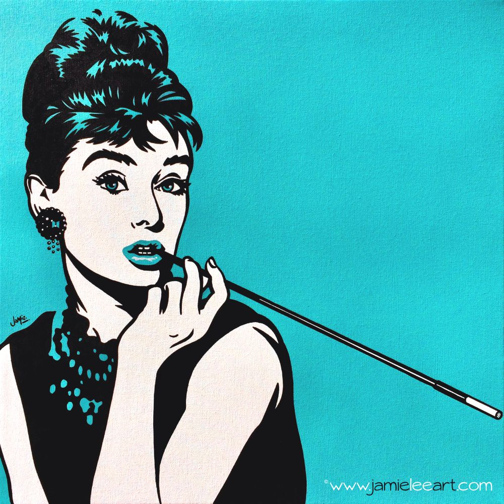 Audrey Hepburn on Turquoise. Original pop art, acrylic on canvas 50cm x 50cm