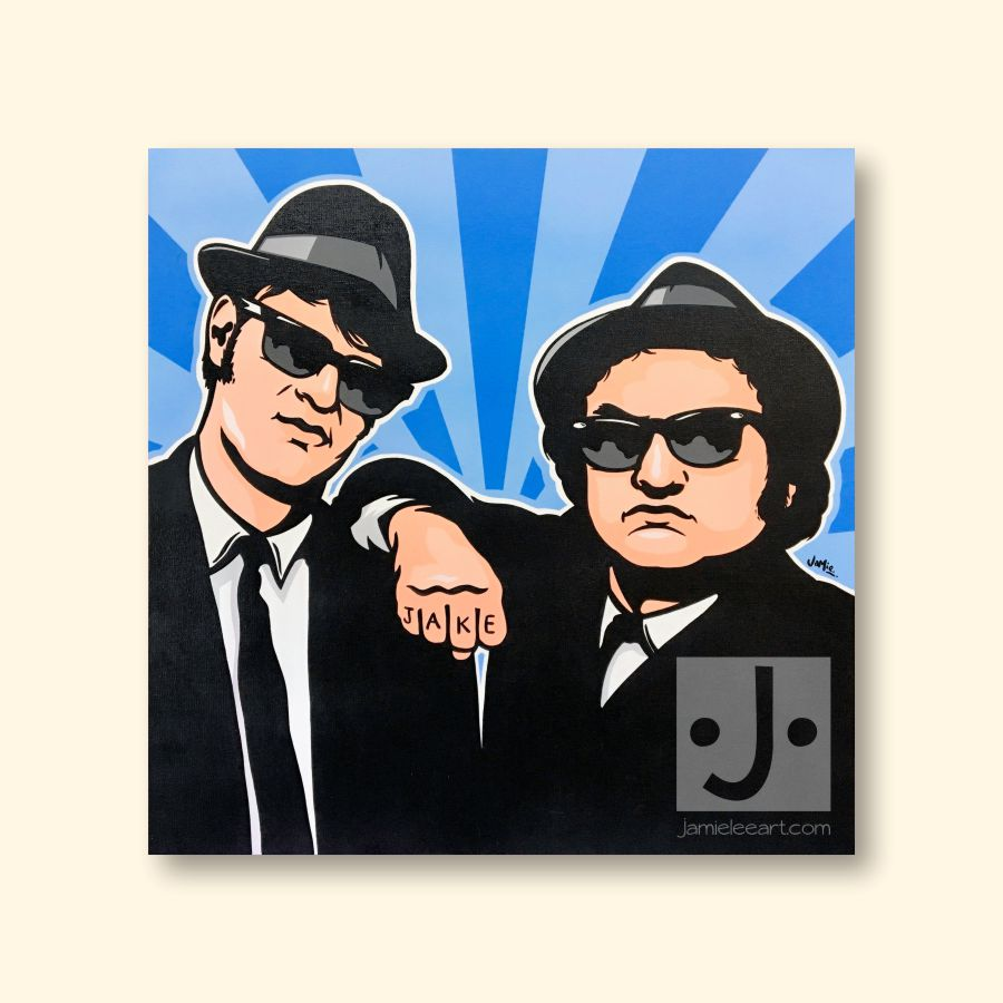 'The Blues Brothers' pop art painting. Acrylic on canvas 60cm x 60cm