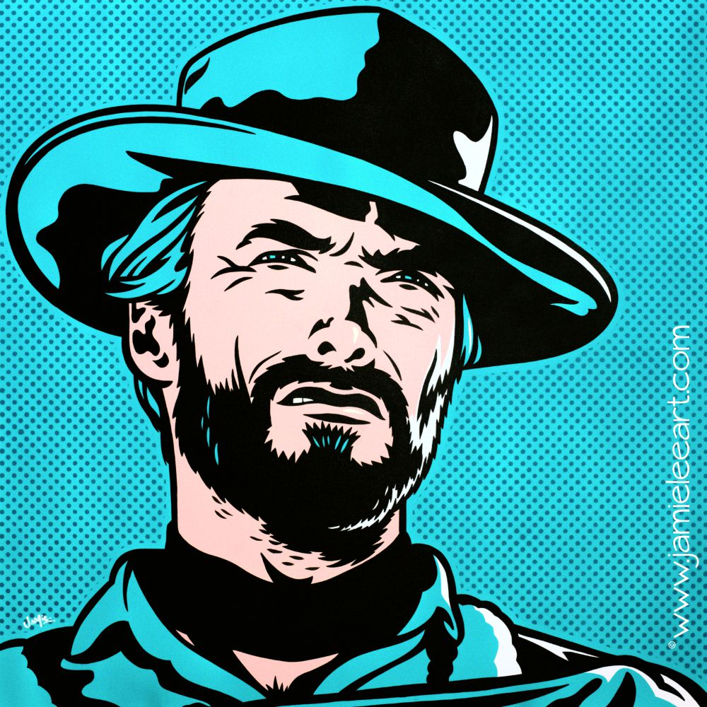 Clint Eastwood original pop art painting. 80cm x 80cm