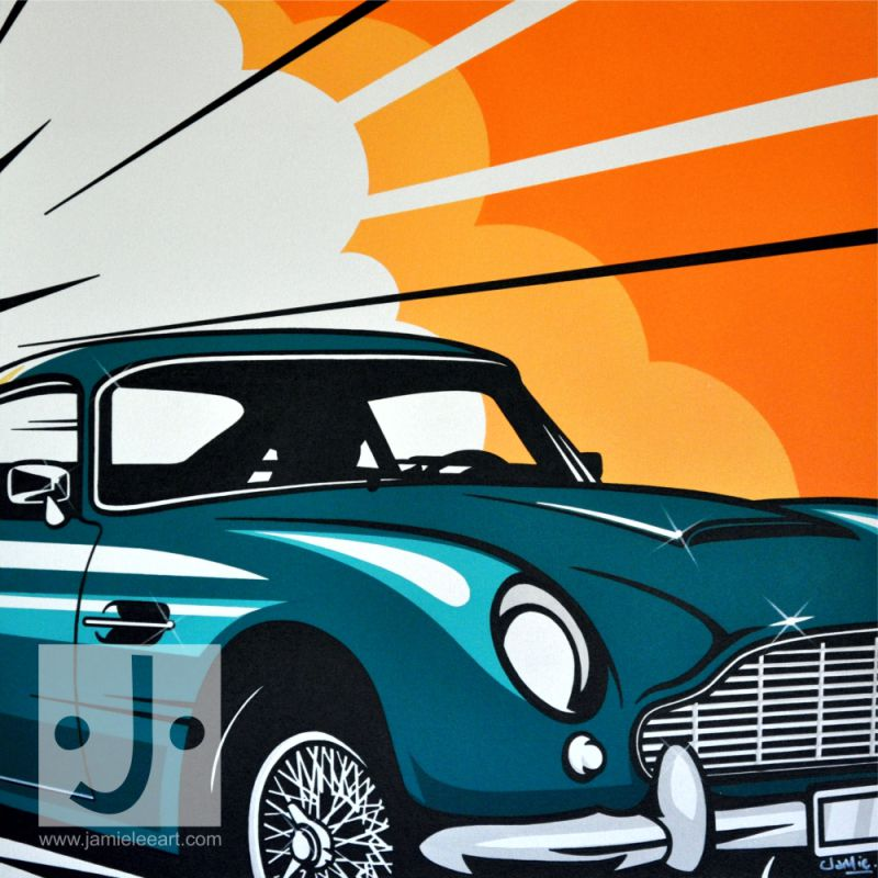 'Aston Martin DB5. Acrylic on canvas 80cm x 80cm