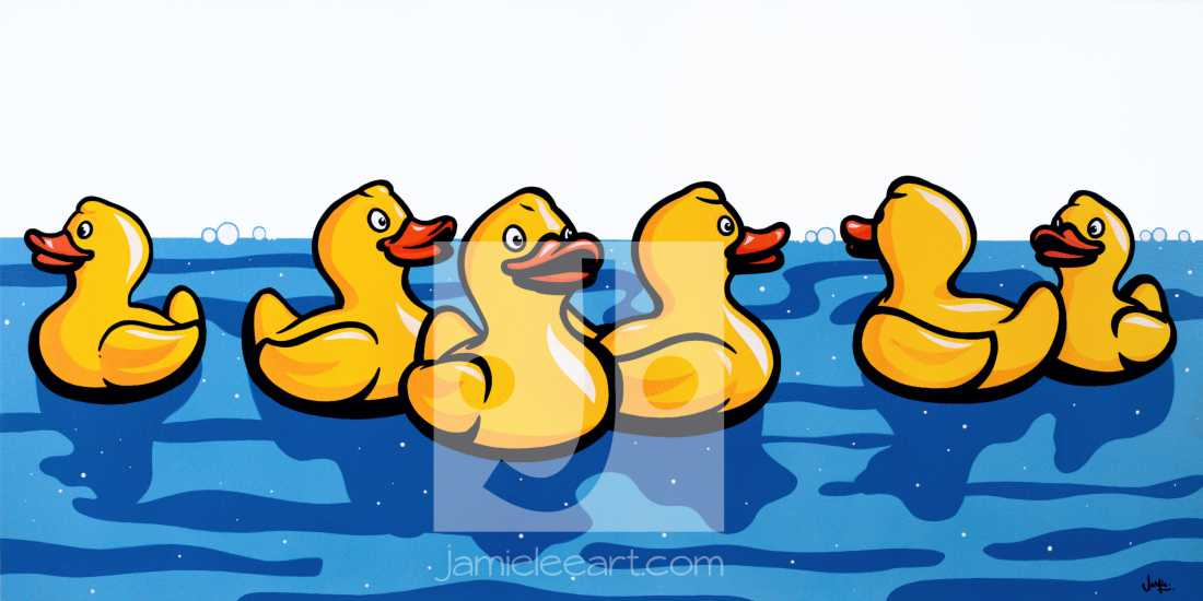 'Rubber Ducks'. Acrylic on canvas 100cm x 50cm