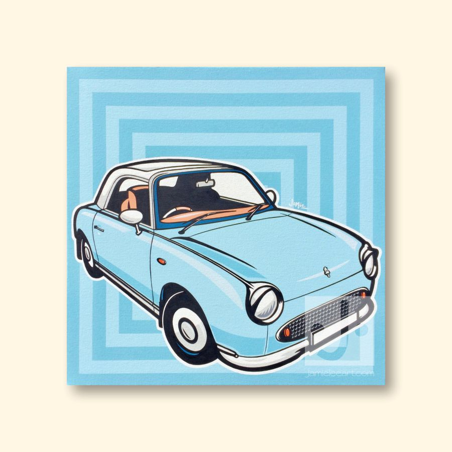 'Pale Aqua Nissan Figaro' Acrylic on canvas 60cm x 60cm