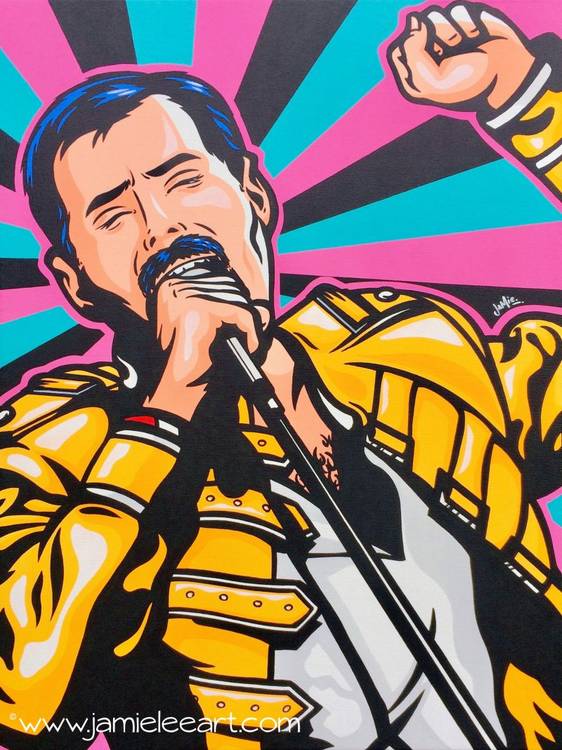 'Freddie Mercury' Acrylic on canvas, 60cm x 45cm