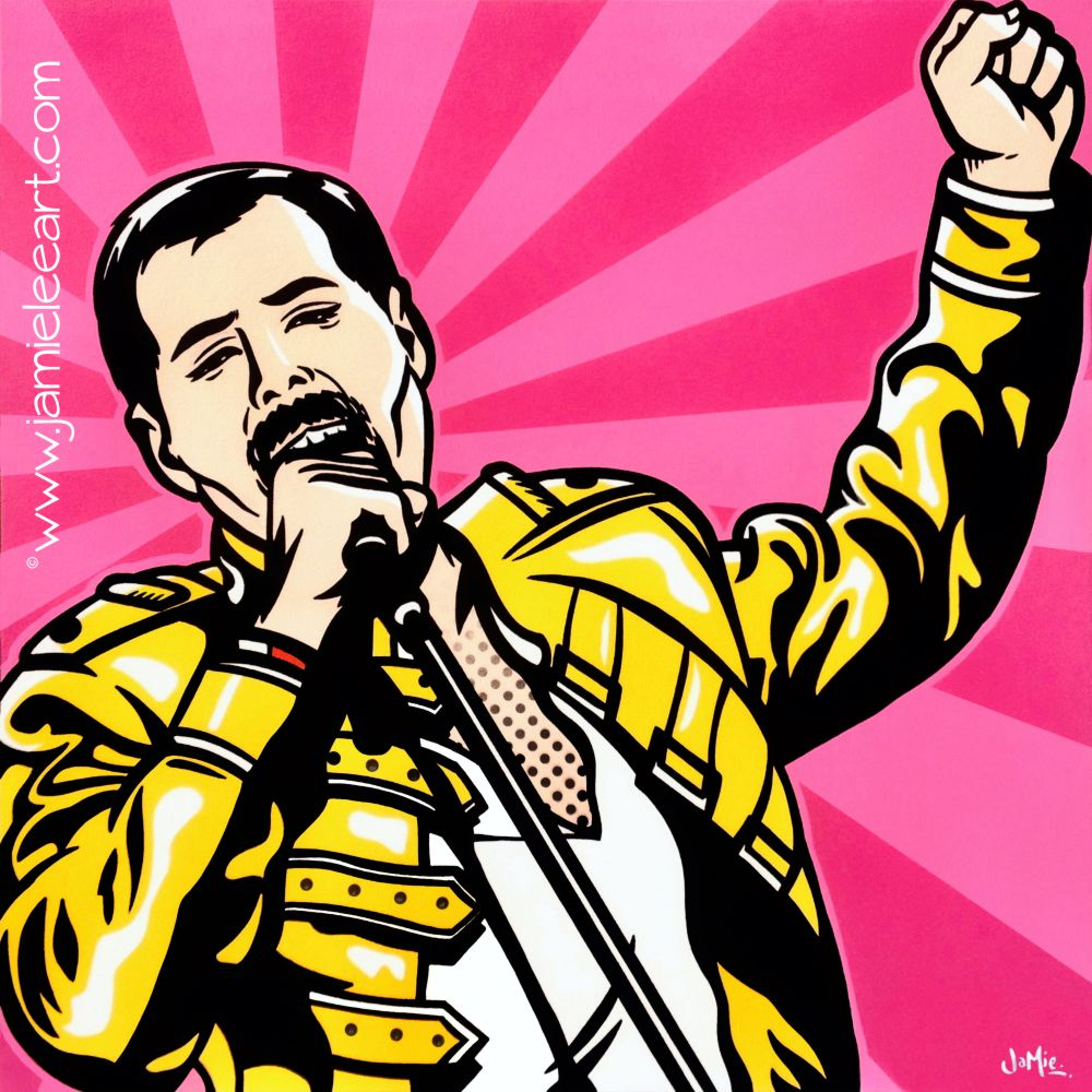 Freddie Mercury Pop art. Acrylic on canvas 60cm x 60cm