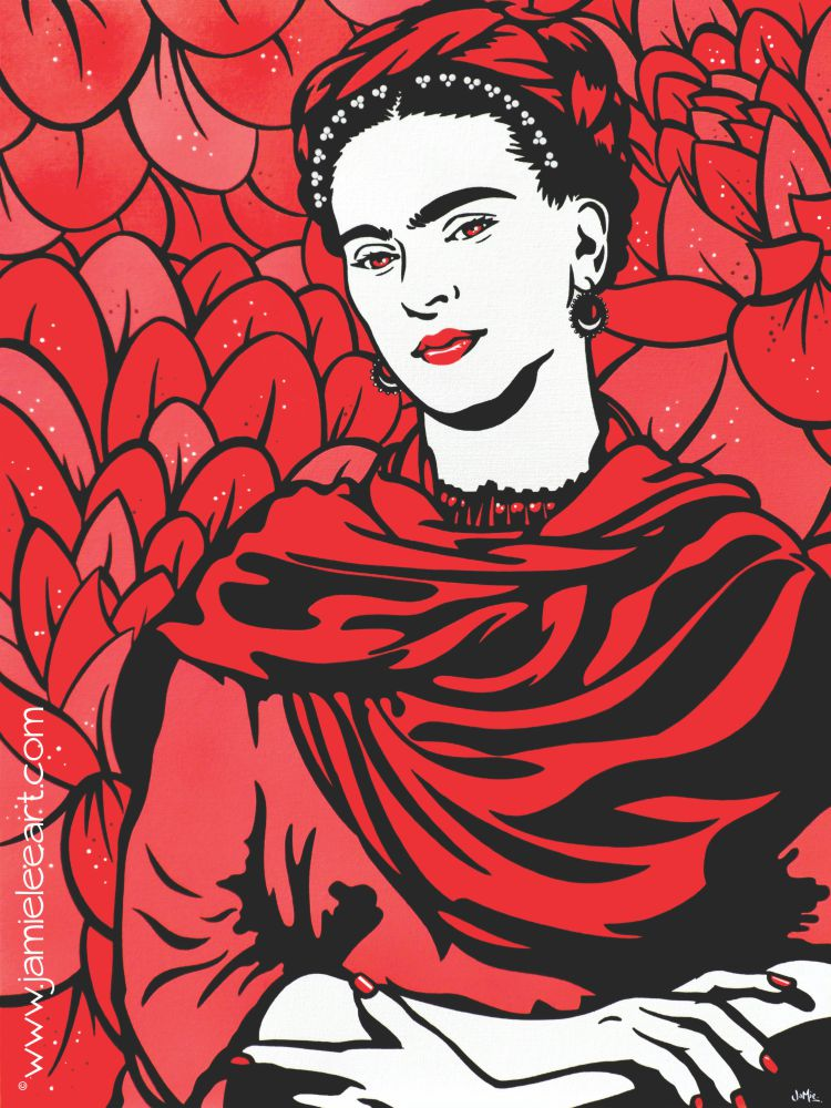 Frida Kahlo Lost In The Flowers. Acrylic on canvas painting.