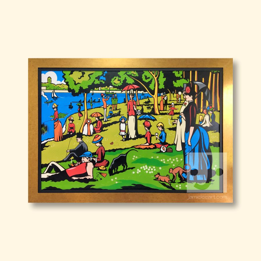 Pop art version of 'La Grande Jatte'. Acrylic on canvas, 100cm x 150cm