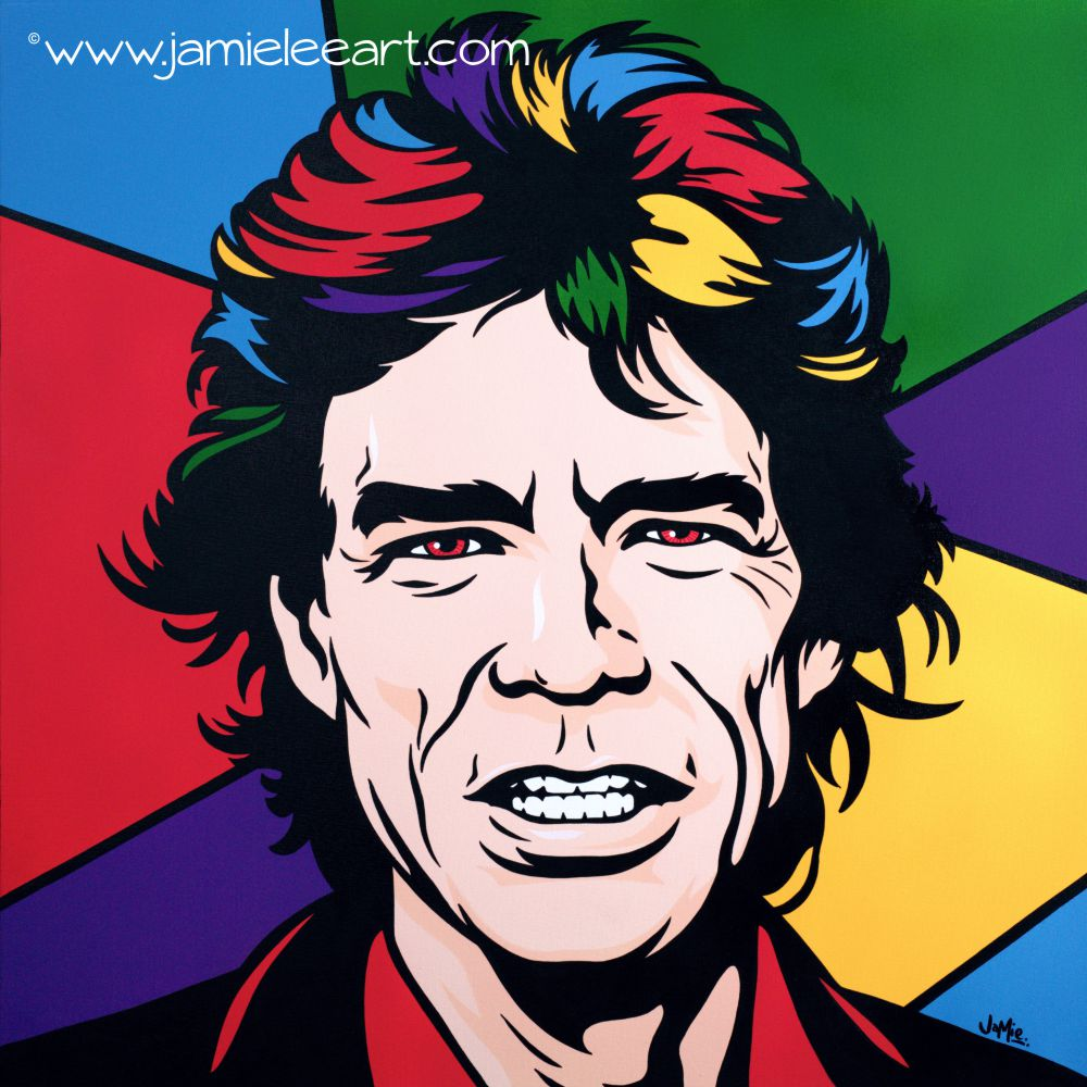 Mick Jagger pop art. Acrylic on canvas, 80cm x 80cm