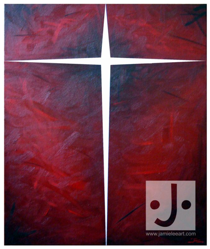 'Life In The Cross'. Acrylic on canvas, 50cm x 60cm