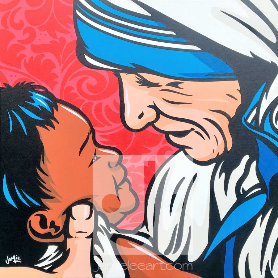 'Mother's Love' Pop art Mother Teresa, acrylic on canvas 50cm x 50cm