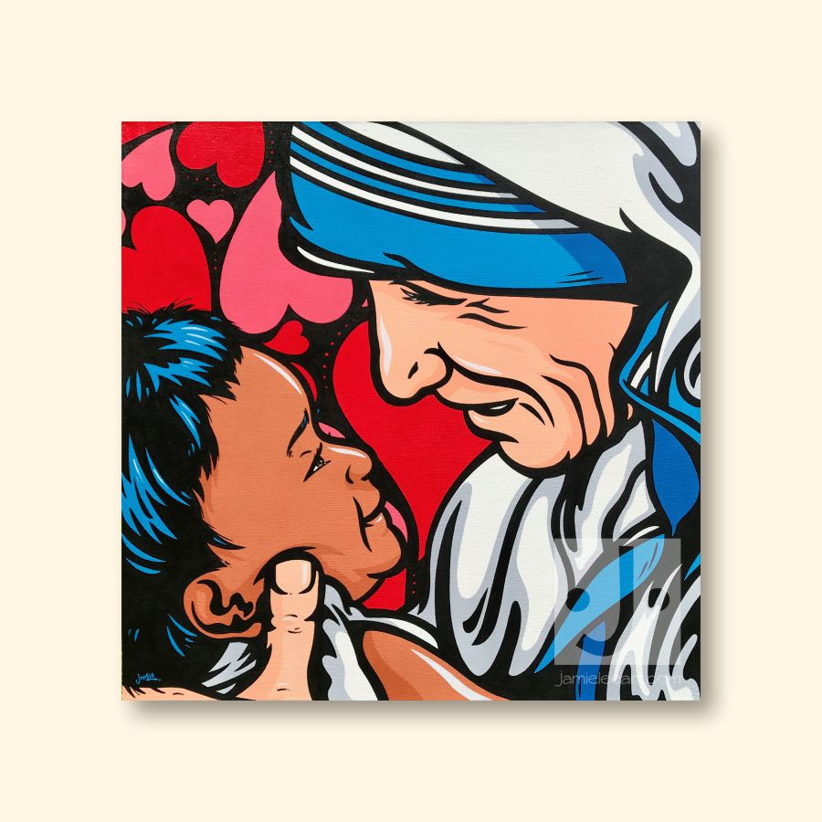 'Mother's Love' Pop art Mother Teresa, acrylic on canvas 80cm x 80cm