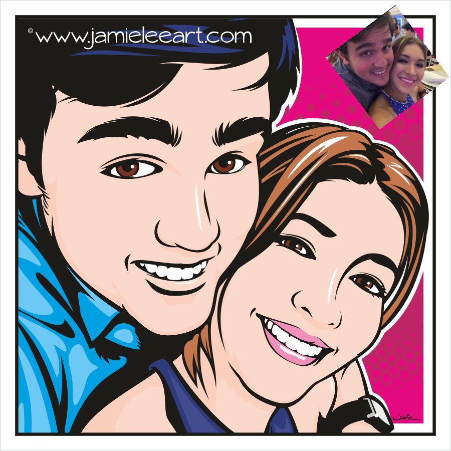 Custom hand drawn pop art portrait