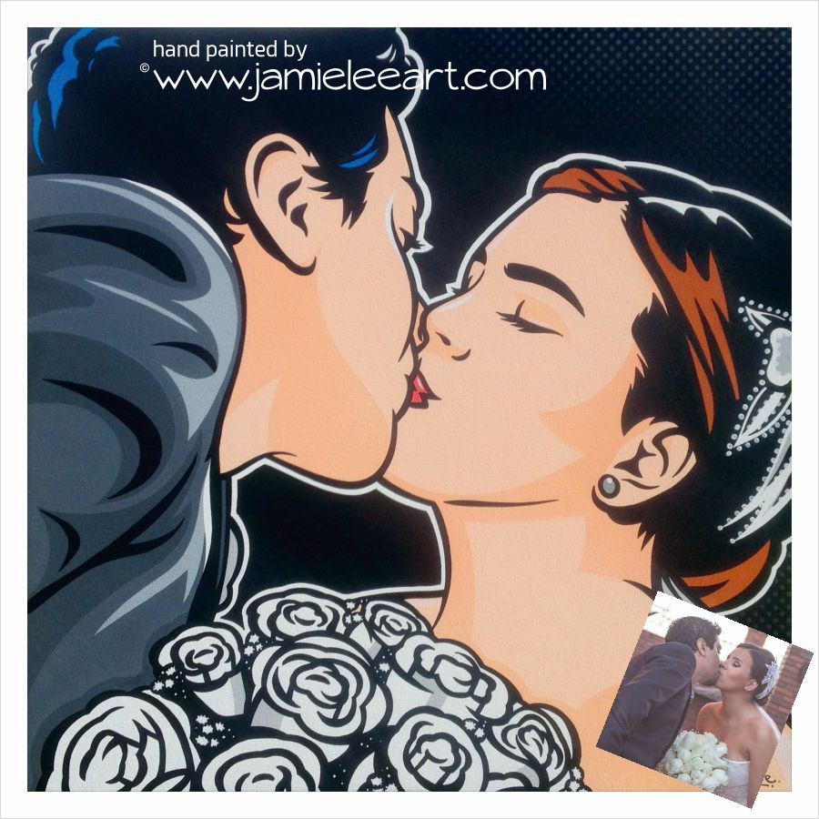Custom hand painted pop art portrait