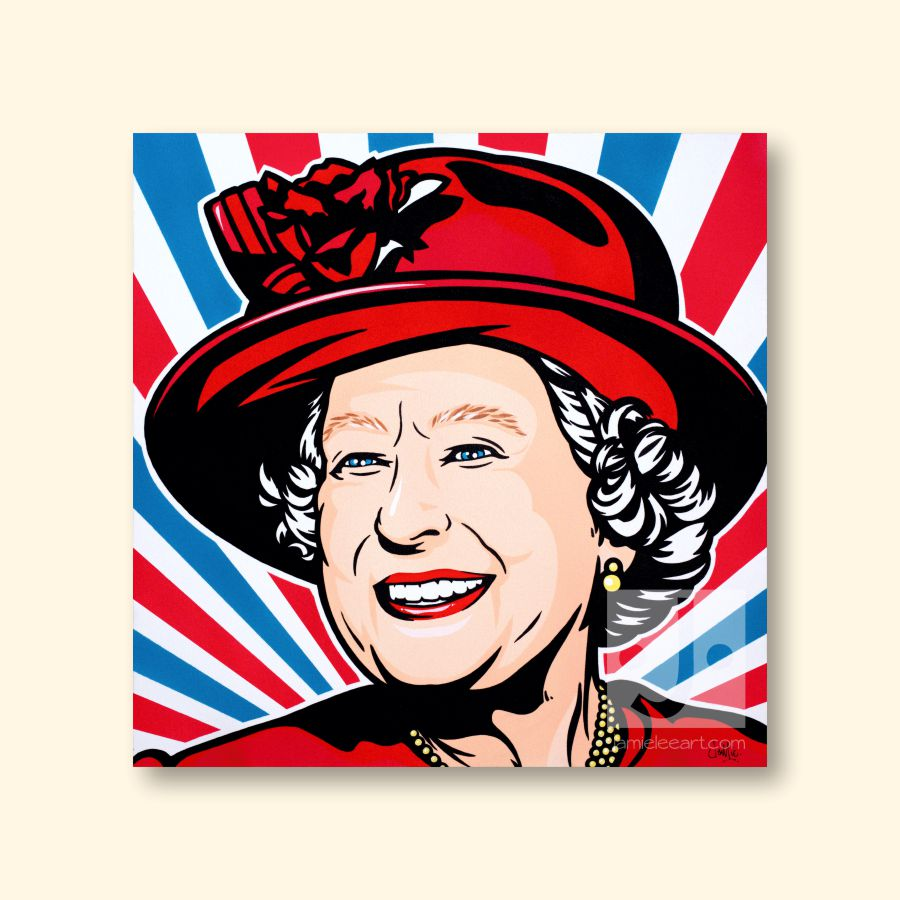 HRH Queen Elizabeth II pop art. Acrylic on canvas, 60cm x 60cm