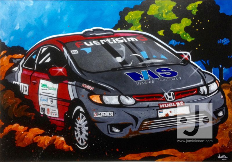 'Rally Car' Acrylic on canvas, 100cm x 70cm