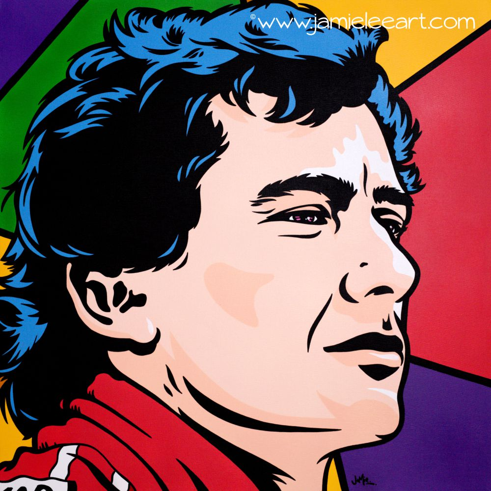 Ayrton Senna pop art. 80cm x 80cm acrylic on canvas