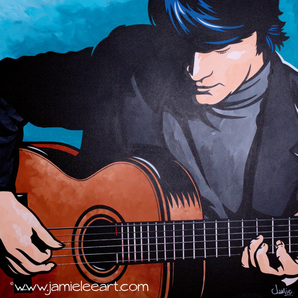 'Favio - Classical Guitarist. Acrylic on canvas 80cm x 80cm