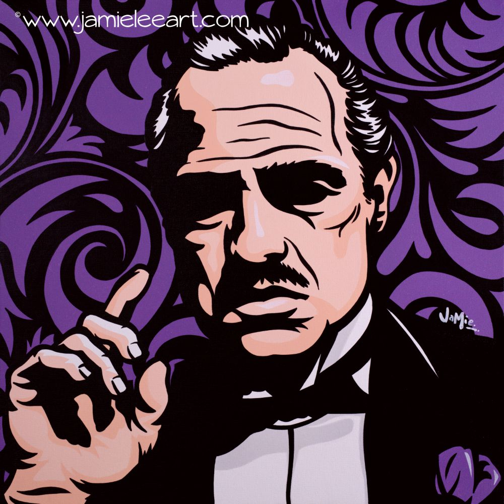 'Vito Corleone' Pop art painting, acrylic on canvas  50cm x 50cm