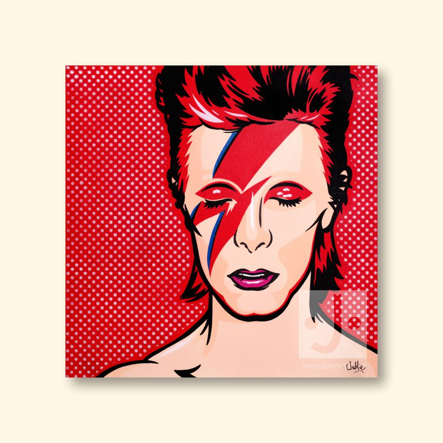 Aladdin Sane Pop art. 50cm x 50cm. Acrylic on canvas.