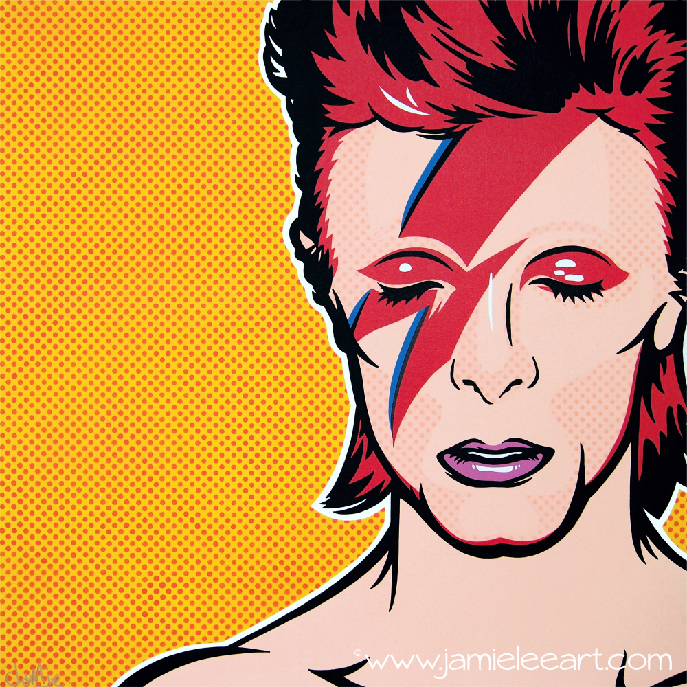 Pop art Ziggy Stardust. Acrylic on canvas 80cm x 80cm