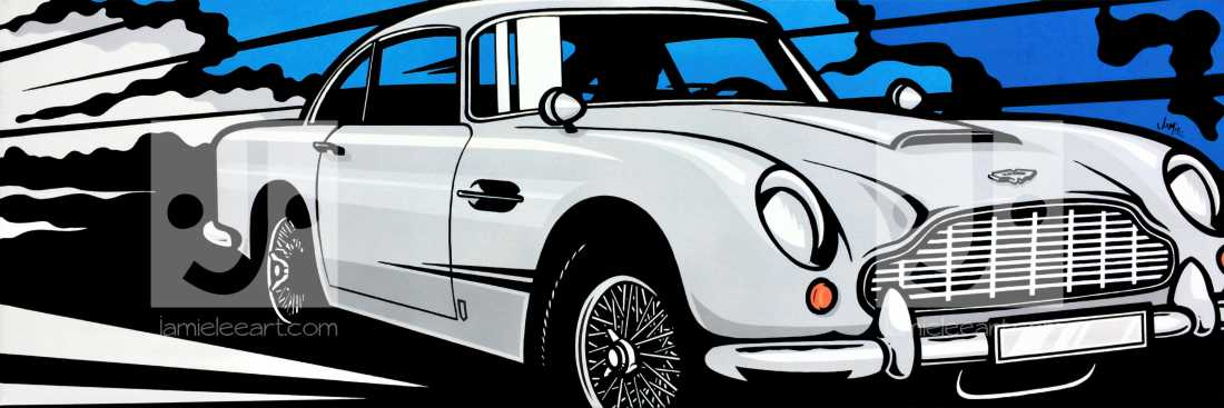 Aston Martin Db5. Acrylic on canvas 120cm x 40cm