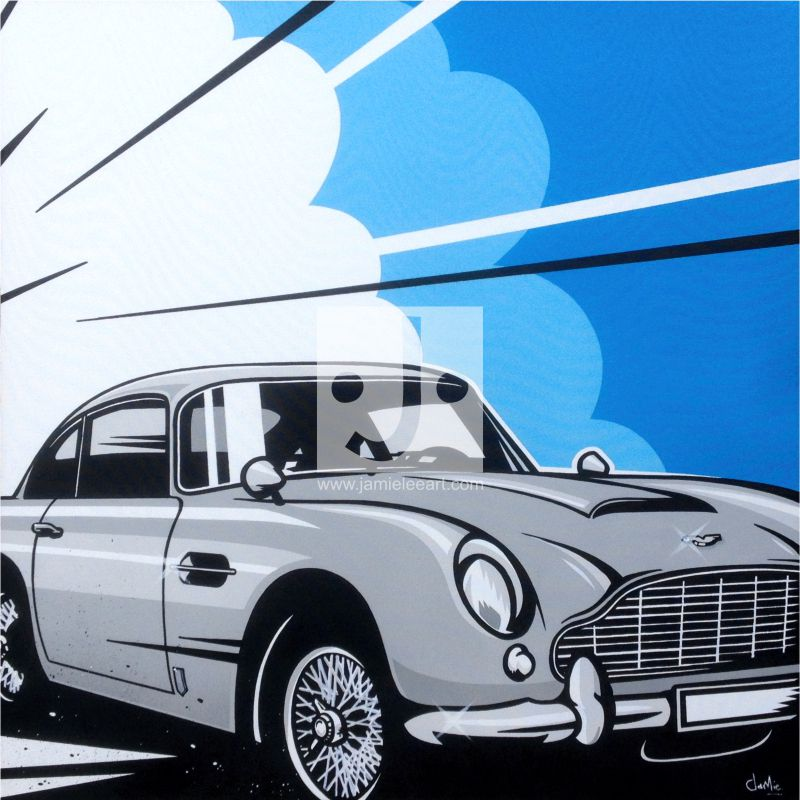 Pop art Aston Martin DB5. Acrylic on canvas, 80cm x 80cm