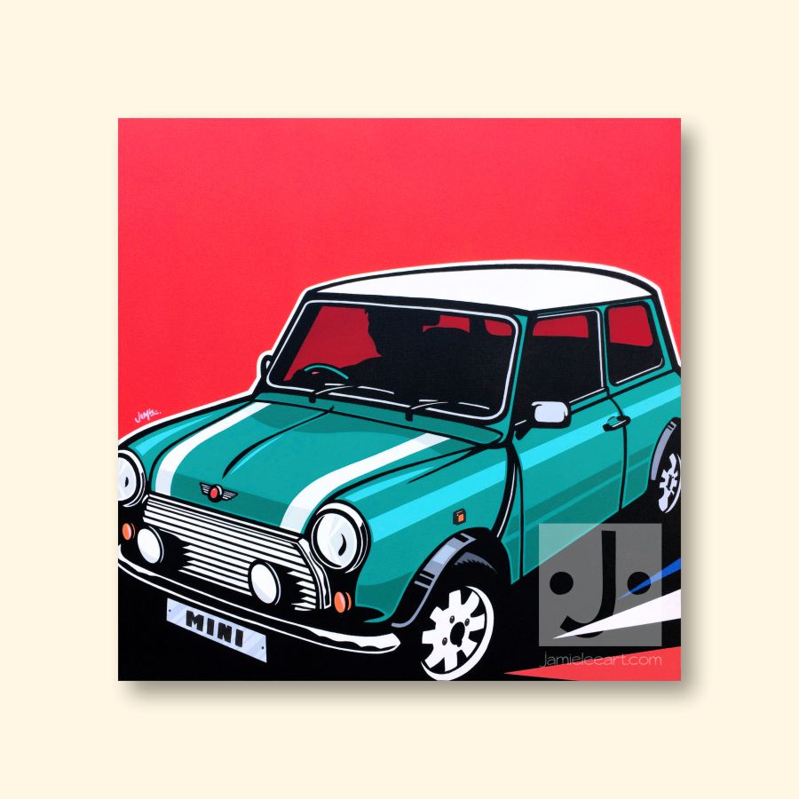 Mini Cooper Pop Art. Acrylic on canvas 60cm x 60cm